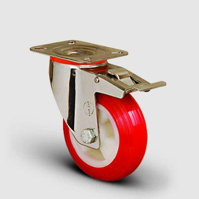 EMES - SSEM01ZKP100F Paslanmaz Döner Tablalı Frenli Poliüretan Tekerlek Çap:100 Inox Hafif Sanayi Tekerleği Burçlu Oynak Tabla Bağlantılı Poliamid Üzeri Poliüretan Kaplı