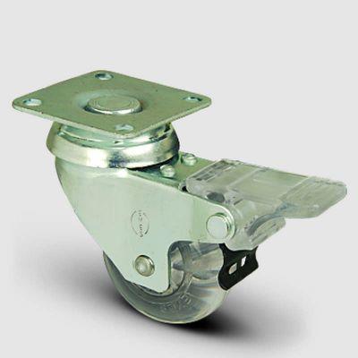 EMES - EP01DKP50F Oynak Frenli Tablalı Şeffaf Tekerlek Çap:50 Sanayi Tekerleği Burçlu Poliüretan Silikon Teker