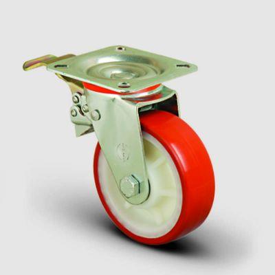 EMES - EK01ZKP100F Döner Tablalı Frenli Poliüretan Kaplı Tekerlek Çap:100 Orta Sanayi Tekerleği Oynak Frenli Tabla Bağlantılı Burçlu