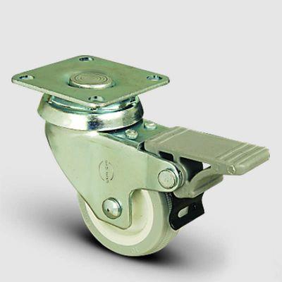EMES - EP01ZKC75F Döner Tablalı Frenli PVC Tekerlek Çap:75 Hafif Sanayi Tekerleği, Oynak Frenli Tabla Bağlantılı, Burçlu