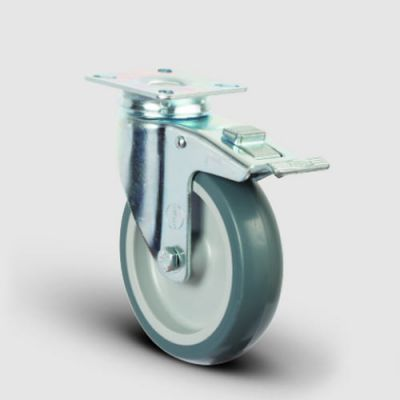 EMES - ER01MKT200F Döner Tablalı Frenli Termoplastik Kauçuk Tekerlek Çap:200 Hafif Sanayi Tekerleği,Oynak Frenli Tabla Bağlantılı, Burçlu