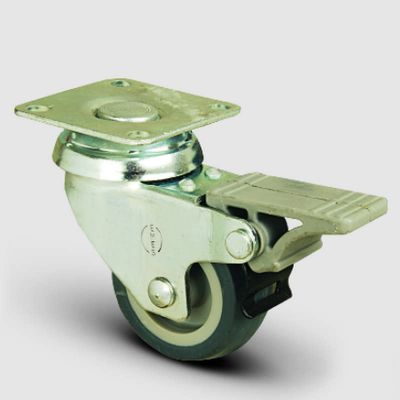 EMES - EP01MKT50F Döner Tablalı Frenli Termoplastik Kauçuk Tekerlek Çap:50 Hafif Sanayi Tekerleği, Oynak Frenli Tabla Bağlantılı, Burçlu