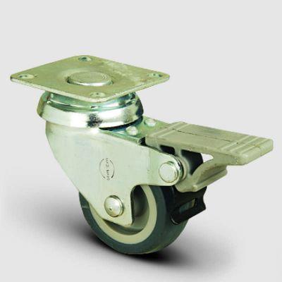 EMES - EP01MKT75F Döner Tablalı Frenli Termoplastik Kauçuk Tekerlek Çap:75 Hafif Sanayi Tekerleği, Oynak Frenli Tabla Bağlantılı, Burçlu