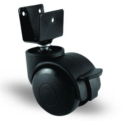 EMES - EC08GMKM50F U Tablalı Frenli Plastik Mobilya Tekerleği Çap:50 Oynak Frenli U Tabla Bağlantılı, Geniş Tip, Burçlu