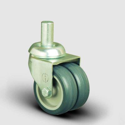 EMES - Oynak Pim Bağlantı, Burçlu, Termoplastik Kauçuk Çiftli Sanayi Tekerleği Çap:50 - ET03 MKT 50