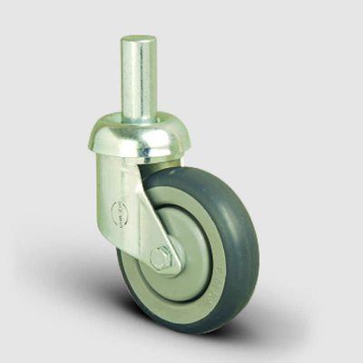 EMES - ES03MBR125 Oynak Pimli Kauçuk Tekerlek Çap:125 Market Arabası Tekerleği Oynak Pim Bağlantılı Bilya Rulmanlı Polipropilen Üzeri Elastik Kauçuk Kaplı Gri Teker