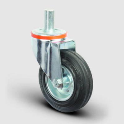 EMES - EM03SPR100 Oynak Pimli Kauçuk Tekerlek Çap:100 Hafif Sanayi Tekerleği Burçlu Pim Bağlantılı Sac Jantlı Kauçuk Kaplamalı