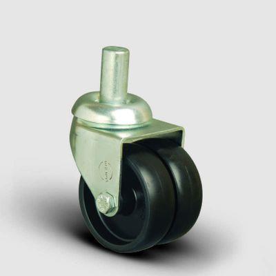 EMES - Oynak Pim Bağlantılı, Burçlu, Polipropilen Çiftli Sanayi Tekerleği Çap:50 - ET03 MKM 50