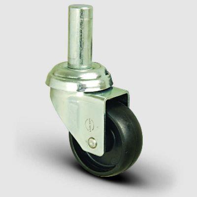 EMES - EP03MKM50 Oynak Pimli Moblen Frenli Tekerlek Çap:50 Hafif Sanayi Tekerleği Burçlu Pim Bağlantılı Polipropilen Plastik Teker