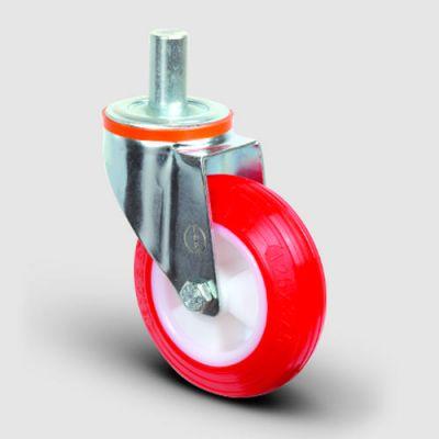 EMES - EM03ZKP100 Oynak Pimli Poliüretan Tekerlek Çap:100 Hafif Sanayi Tekerleği Burçlu Pim Bağlantılı Poliamid Üzeri Poliüretan Kaplı Kırmızı Teker