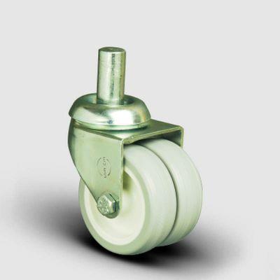 EMES - Oynak Pim Bağlantılı, Burçlu, PVC Çiftli Sanayi Tekerleği Çap:50 - ET03 ZKC 50