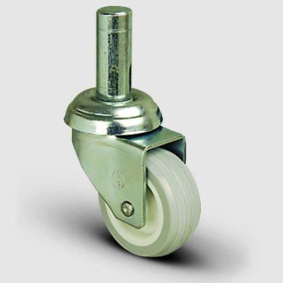 EMES - EP03ZKC75 Oynak Pimli PVC Tekerlek Çap:75 Hafif Sanayi Tekerleği Burçlu Pim Bağlantılı Poliamid üzeri PVC Kaplı Teker