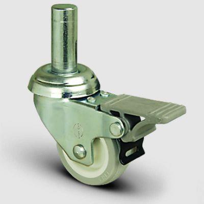 EMES - EP03ZKC75F Oynak Pimli PVC Frenli Tekerlek Çap:75 Hafif Sanayi Tekerleği Burçlu Pim Bağlantılı Poliamid üzeri PVC Kaplı Teker