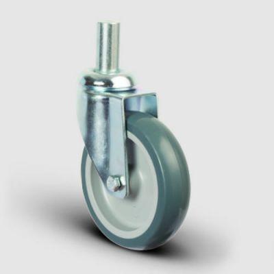 EMES - ER03MKT125 Oynak Pimli Kauçuk Frenli Tekerlek Çap:125 Hafif Sanayi Tekerleği Pim Bağlantılı Burçlu Polipropilen Üzeri Termoplastik Kauçuk Kaplı Gri Teker