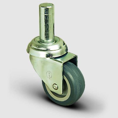 EMES - EP03MKT75 Oynak Pimli Termoplastik Kauçuk Tekerlek Çap:75 Hafif Sanayi Tekerleği Burçlu Pim Bağlantılı Gri Kaplı Teker