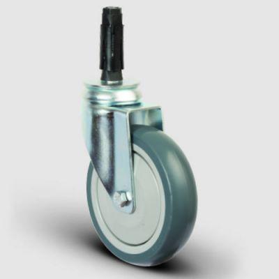 - ER07MBT100 Oynak Soketli Termoplastik Kauçuk Tekerlek Çap:100 Hafif Sanayi Tekerleği Soket Geçme Bağlantılı Bilya Rulmanlı Polipropilen Üzeri Termoplastik Kauçuk Kaplı Gri Teker