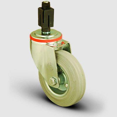 EMES - EM07SPRG100 Oynak Soketli Gri Kauçuk Tekerlek Çap:100 Hafif Sanayi Tekerleği Burçlu Soket Geçme Bağlantılı Sac Jant Üzeri Gri Kauçuk Kaplamalı