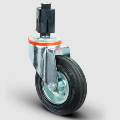 EMES - EM07SPR125 Oynak Soketli Kauçuk Tekerlek Çap:125 Hafif Sanayi Tekerleği Burçlu Soket Geçme Bağlantılı Sac Jant Üzeri Kauçuk Kaplamalı