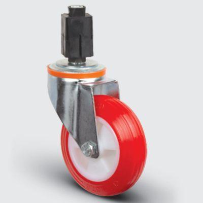 EMES - EM07ZKP100 Oynak Soketli Poliüretan Tekerlek Çap:100 Hafif Sanayi Tekerleği Burçlu Soket Geçme Bağlantılı Poliamid Üzeri Poliüretan Kaplı Kırmızı Teker