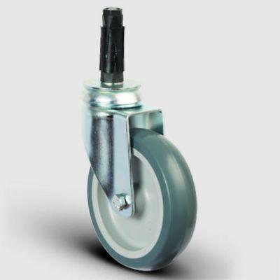 - ER07MKT125 Oynak Soketli Termoplastik Kauçuk Tekerlek Çap:125 Hafif Sanayi Tekerleği Soket Geçme Bağlantılı Burçlu Polipropilen Üzeri Termoplastik Kauçuk Kaplı Gri Teker