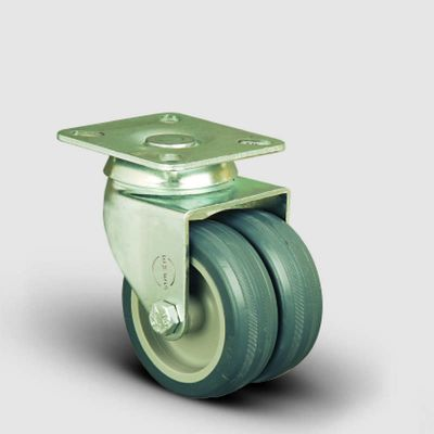 EMES - ET01MKT75 Oynak Tablalı Çiftli Termo Kauçuk Tekerlek Çap:75 Sanayi Tekerleği Burçlu Oynak Tabla Bağlantılı Termoplastik Kauçuk İkili Teker