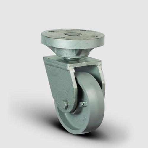 EH01VBV125 Döner Tablalı Döküm Tekerlek Çap:125 Lama Çatılı Ağır Sanayi Tekerleği Kaynak Maşa Oynak Tabla Bağlantılı Bilya Rulmanlı