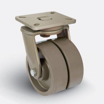 EMES - EJ01VBV200 Döner Tablalı Çift Döküm Tekerlekli Çap:200 Ekstra Ağır Sanayi Tekerleği Bilya Rulmanlı