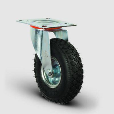 EMES - EG01SBRH260 Döner Tablalı Sac Jantlı Havalı Tekerlek Çap:260, Sanayi Tekerleği, Oynak Tabla Bağlantılı, Bilya Rulmanlı Şişme Tekerlek