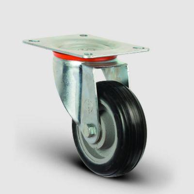 EMES - EX01VBR150 Döner Tablalı Döküm Üzeri Kauçuk Kaplı Tekerlek Çap:150 Ağır Sanayi Tekerleği Geniş Maşa Oynak Tabla Bağlantılı Bilya Rulmanlı Tekstil Tipi Jant Kapaklı