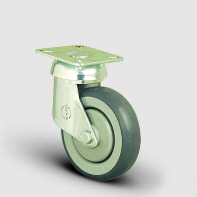 EMES - ES01MBR125 Oynak Tablalı Kauçuk Tekerlek Çap:125 Market Arabası Tekerleği Oynak Tabla Bağlantılı Bilya Rulmanlı Polipropilen Üzeri Elastik Kauçuk Kaplı Gri Teker