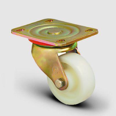 EMES - ED01ZBZ200 Döner Tablalı Poliamid Tekerlek Çap:200 Ağır Sanayi Tekerleği Sarı Maşalı Oynak Tabla Bağlantılı Bilya Rulmanlı