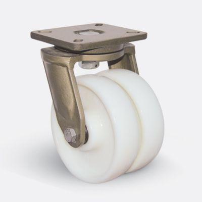 EMES - EJ01HBZ200 Döner Tablalı Çift Poliamid Tekerlekli Çap:200 Ekstra Ağır Sanayi Tekerleği Bilya Rulmanlı