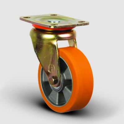 EMES - ED01ABP125 Döner Tablalı Alüminyum Üzeri Poliüretan Kaplı Tekerlek Çap:125 Ağır Sanayi Tekerleği Sarı Maşalı Oynak Tabla Bağlantılı Bilya Rulmanlı