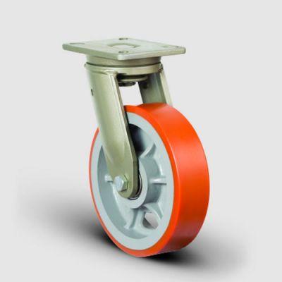 EMES - EV01VBP150 Döner Tablalı Poliüretan Tekerlekli Çap:150 Ekstra Ağır Sanayi Tekerleği Bilya Rulmanlı