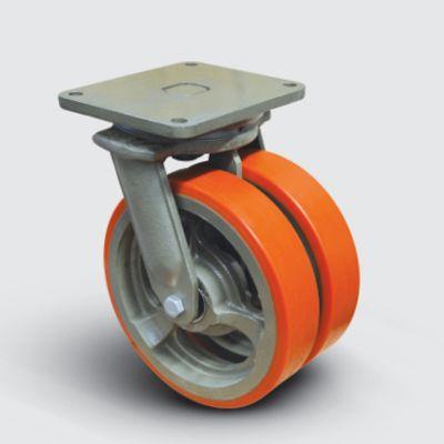 EMES - EW01VBP350 Döner Tablalı Döküm Üzeri Poliüretan Kaplı Çap:350 Çift Tekerlekli Ekstra Ağır Sanayi Tekerleği Bilya Rulmanlı