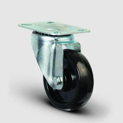 EMES - Oynak Tabla Bağlantılı, Burçlu, Bakalit Yüksek Sıcaklığa Dayanıklı Tekerlek Çap:100 - EM01 BKB 100