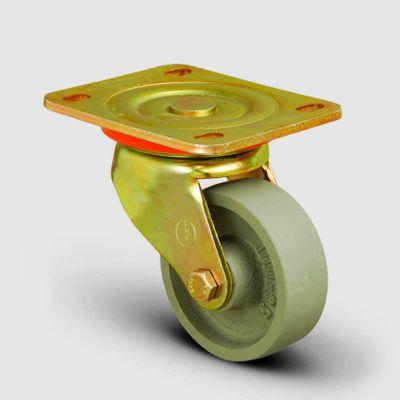 EMES - ED01VKV80 Döner Tablalı Döküm Tekerlek Çap:80 Ağır Sanayi Tekerleği Sarı Maşa Oynak Tabla Bağlantılı Burçlu
