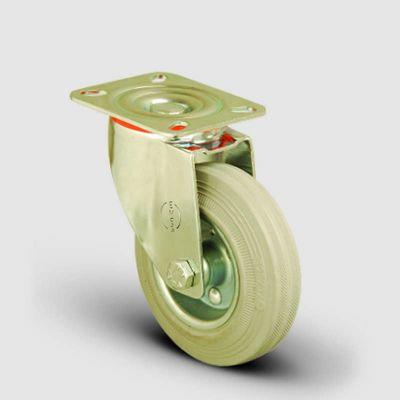 EMES - EM01SPRg100 Döner Tablalı Gri Kauçuk Tekerlek Çap:100 Hafif Sanayi Tekerleği, Oynak Tabla Bağlantılı, Burçlu