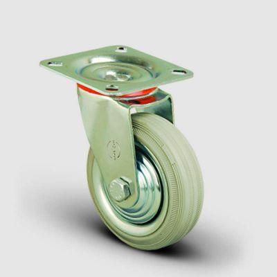 EMES - EK01SPRg125 Döner Tablalı Gri Kauçuk Kaplı Tekerlek Çap:125 Orta Sanayi Tekerleği Oynak Tabla Bağlantılı Burçlu