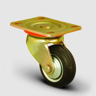 EMES - ED01SPR125 Döner Tablalı Kauçuk Kaplı Tekerlek Çap:125 Ağır Sanayi Tekerleği Sarı Maşa Oynak Tabla Bağlantılı Burçlu