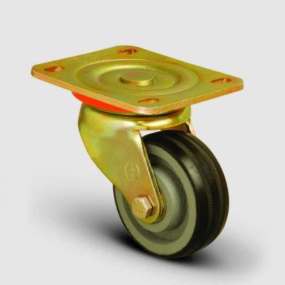 EMES - ED01VKR80 Döner Tablalı Döküm Üzeri Kauçuk Kaplı Tekerlek Çap:80 Ağır Sanayi Tekerleği Sarı Maşa Oynak Tabla Bağlantılı Burçlu