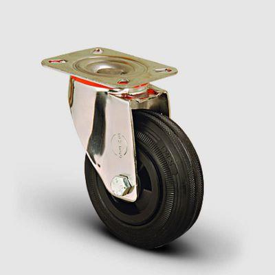 EMES - SSEM01MKR200 Paslanmaz Döner Tablalı Kauçuk Tekerlek Çap:200 Inox Hafif Sanayi Tekerleği Burçlu Oynak Tabla Bağlantılı