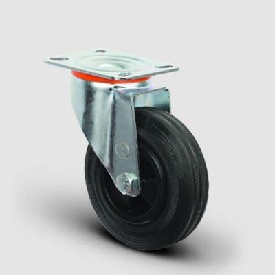 EMES - EM01MKR200 Döner Tablalı Plastik-Kauçuk Tekerlek Çap:200 Hafif Sanayi Tekerleği, Oynak Tabla Bağlantılı, Burçlu