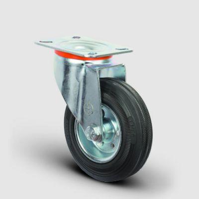 EMES - EM01SPR200 Döner Tablalı Kauçuk Tekerlek Çap:200 Hafif Sanayi Tekerleği, Oynak Tabla Bağlantılı, Burçlu