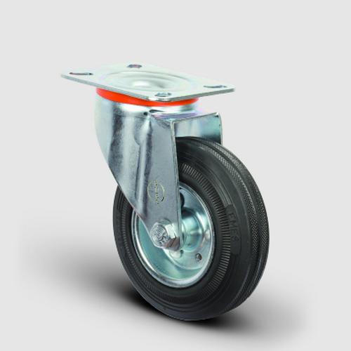 EM01SPR80 Döner Tablalı Kauçuk Tekerlek Çap:80 Hafif Sanayi Tekerleği, Oynak Tabla Bağlantılı, Burçlu