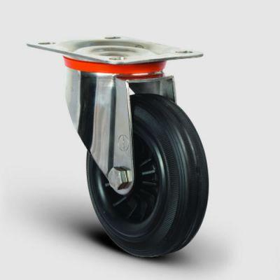 EMES - SSEZ01MKR100 Paslanmaz Döner Tablalı Kauçuk Tekerlek Çap:100 Ağır Tip Inox Sanayi Tekerleği Oynak Tabla Bağlantılı Burçlu Poliproilen Üzeri Kauçuk Kaplı 100x35
