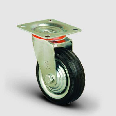 EMES - EK01SPR125 Döner Tablalı Kauçuk Kaplı Tekerlek Çap:125 Orta Sanayi Tekerleği Oynak Tabla Bağlantılı Burçlu