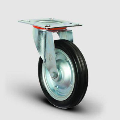 EMES - EG01SBR250 Döner Tablalı Kauçuk Kaplı Tekerlek Çap:250 Sanayi Tekerleği Oynak Tabla Bağlantılı Bilya Rulmanlı