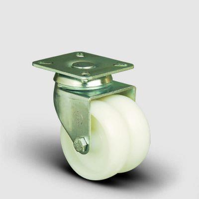EMES - ET01ZKZ75 Oynak Tablalı Çiftli Poliamid Tekerlek Çap:75 Sanayi Tekerleği Burçlu Oynak Tabla Bağlantılı İkili Teker