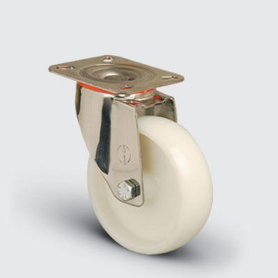 EMES - SSEM01ZKZ125 Paslanmaz Döner Tablalı Poliamid Tekerlek Çap:125 Inox Hafif Sanayi Tekerleği Burçlu Oynak Tabla Bağlantılı